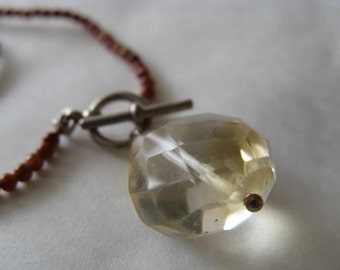 Dainty Goldstone Bead Bracelet with Faceted Citrine Drop
