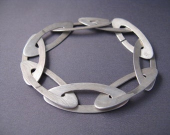 Modern Sterling Silver Oval Bracelet