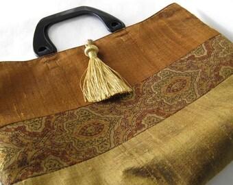 Gold and Bronze Silk Sari Purse