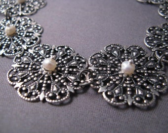 Lacy Filigree and Freshwater Pearl Bracelet