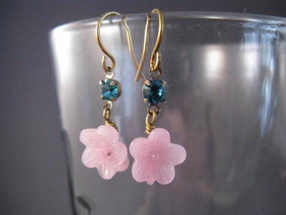 Super Girly Rhinestone and Vintage Glass Flower Earrings