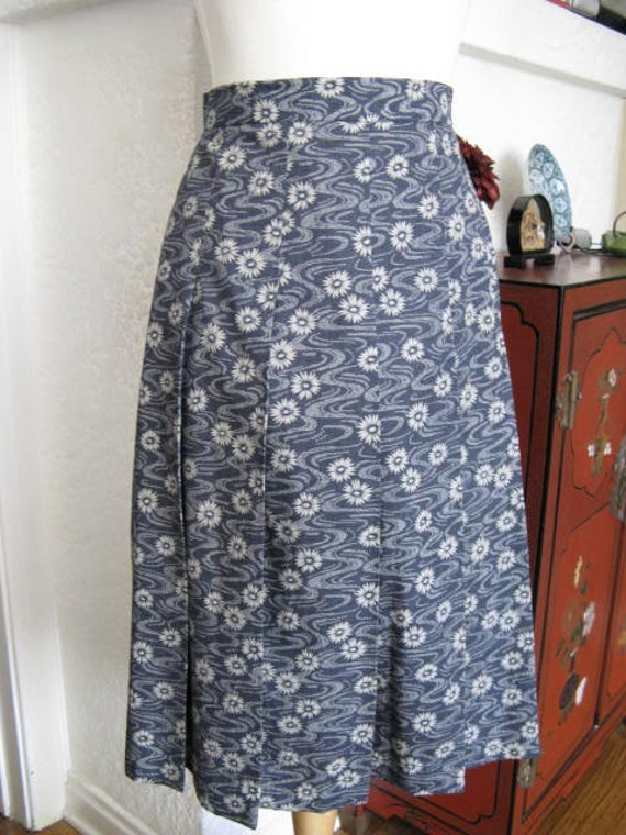 Japanese Flower and Water Cotton Pleated Skirt OOAK