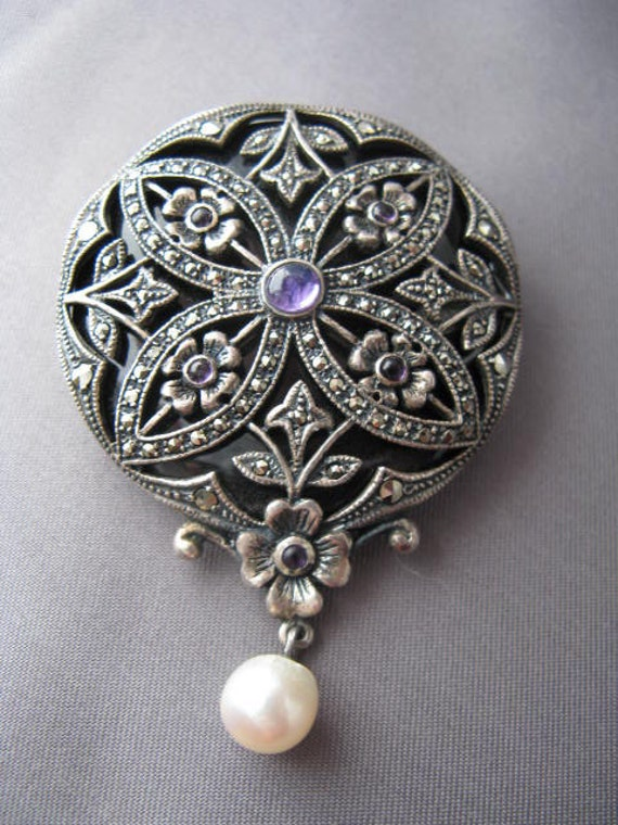 Amazing Vintage Silver Amethyst Onyx and Marcasite Brooch