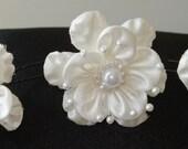 Bridal Hair Wedding Flower Hairpins Satin Pearl Hairpins (set of 3)