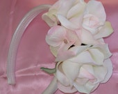 Bridal Hair Flower Crown Flower Headband Wedding Flower Girl Fascinator Bridesmaid Pink Blush Roses