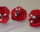 Bridal Hair Wedding Hair Flower Hairpins Red Hydrangea Pearl and Rhinestone Hair Accessory