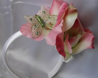 Bridal Hair Wedding Hair Flower Crown Flower Girl Headband Fascinator Bridesmaid Hair Pink Gladiolus