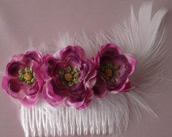 Bridal Hair Wedding Flower Poppy Hair Comb Purple Fuchsia Feather Fascinator