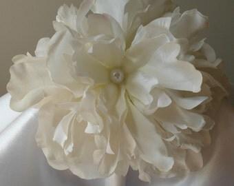 Bridal Hair Wedding Hair Flower Crown Flower Girl Headband Fascinator White Peony