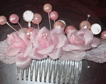 Bridal Hair Wedding Hair Pink Beaded Floral Hair Comb Fascinator