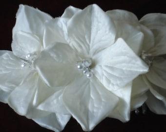 Bridal Hair Wedding Hair Floral Hair Comb Fascinator White Hydrangeas Pearls Rhinestones