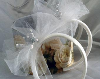 Flower Girl Headband Bridal Hair Wedding Hair Tulle Headband FascinatorTulle n Pearls (1)