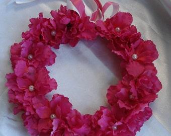 Flower Crown Bridal Hair Wedding Hair Flower Girl Floral Hair Wreath Coachella Head Wreath Pink Fuchsia Azaleas