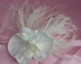 Bridal Hair Wedding Hair Orchid Headpiece Feather Fascinator