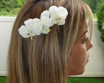 Bridal Hair Wedding Hair Flower Hair Comb White Orchid Fascinator