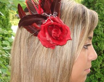 Bridal Hair Wedding Hair Red Rose Hair Clip Fascinator Bridesmaid Hair Feathers n Rhinestones