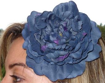 Bridal Hair Wedding Hair Flower Girl Floral Headpiece Blue Peony Flower Headband Fascinator