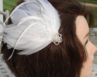 Bridal Hair Wedding Hair Feather Fascinator White Feather Hair Clip Swarovski Crystals