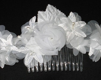 Bridal Hair Wedding Hair White Flower Hair Comb Fascinator Headpiece