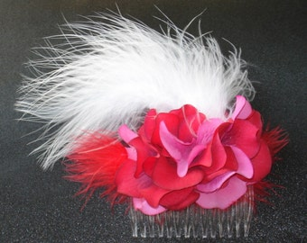 Bridal Hair Flower Comb Red Hydrangeas Feather Hair Comb Fascinator
