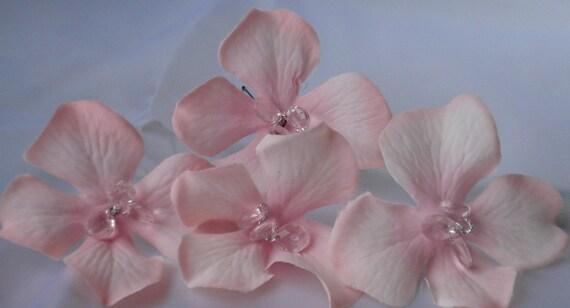 Pink Hydrangea Hairpins with Rhinestones (Set of 4)
