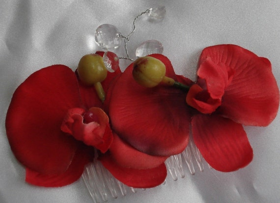 Bridal Hair Wedding Hair Flower Comb Red Phalaenopsis Orchid Hair Comb Fascinator