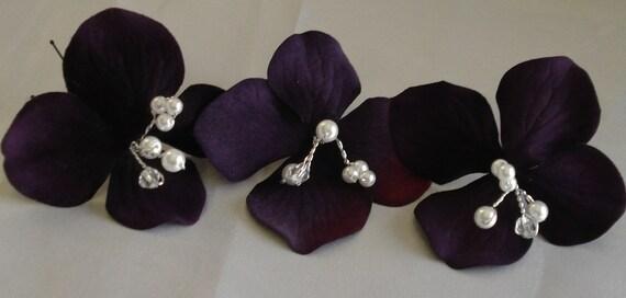 Purple Hydrangea Hairpins with Pearls and Rhinestones