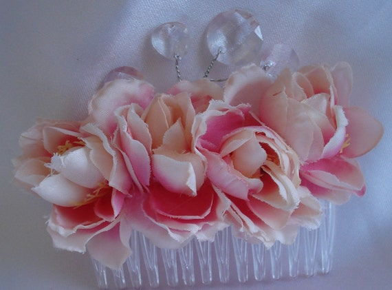 Pink Rose Hair Comb Fascinator with Bling