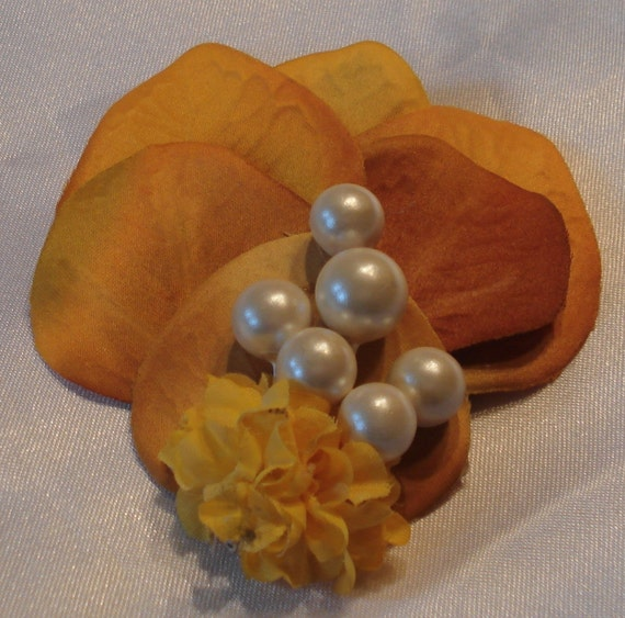 Bridal Hair Wedding Hair Floral Hair Clip Yellow Orange Pearls Fascinator