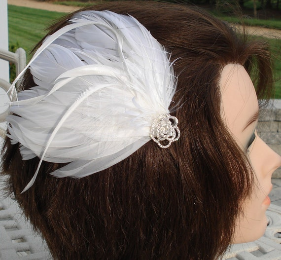 Bridal Hair Wedding Hair Feather Fascinator White Feather Hair Clip Swarovski Crystals