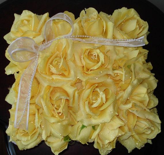 Bridal Pillow Wedding Pillow Ringbearer Pillow Ring Pillow Yellow Roses