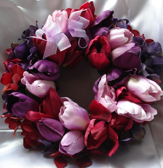 Wreath Wall Hanging in Red Purple Lavender Tulips