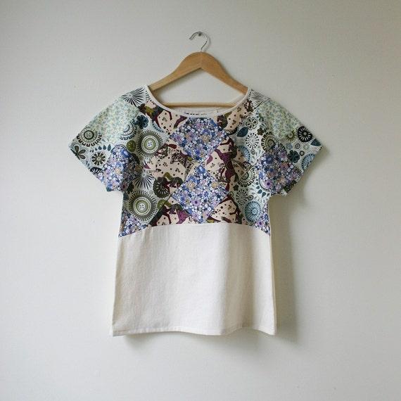 plum pine patch kimono sleeve top