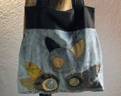 Recycled Fabric Shoulder Bag - art deco flowers, bold pattern, applique, patchwork, large purse, sage, black and gold