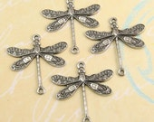 Dragonfly Connector, Antique Silver, 4 Pc. AS27