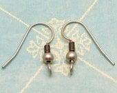 Antique Silver French Earwire with Ball, 12 Pc. AS170