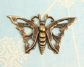 Open Work Butterfly Antique Gold Trinity Brass 2 Pc. AG68