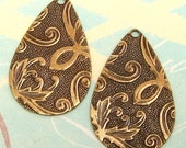 Brass Floral Embossed Teardrop Pendant, Charm,  2 Pc. AB1