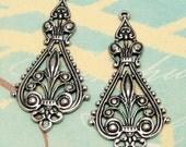 Filigree Drop, Antique Silver, 2 Pc. AS130