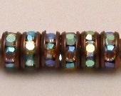 Rhinestone Rondelle Spacer Copper Crystal AB 4 mm 6 Pc. C124