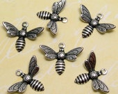 Baby Bee Charms Silver Trinity Brass 6 Pc. AS107