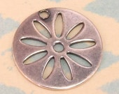 Daisy Disk Charm Antiqued Silver Trinity Brass 4 Pc. AS209