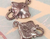 Stingray Fish Charm Silver Antique Pewter 2 Pc. AP52