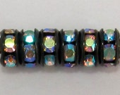 Rhinestone Rondelle Jet Crystal AB 5mm, 12 Pc. C194
