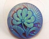 Czech Glass Button, Flower, Matte Blue Purple, 18mm, With Pendant Converter, C197