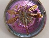 Czech Glass Button, Dragonfly, Aqua, Lavender 18mm With Pendant Converter C212