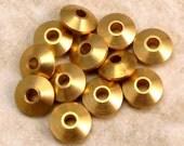 Mykonos Saucer Spacer Solid Brass Bead, 6x3 MM 25-Pieces M74