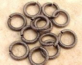 Etched Strong Jump Ring, Antique Silver 9 mm  12 Pc. AS241