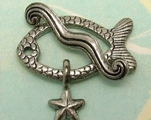 Fish Toggle Clasp Starfish Wave Antique Pewter AP30