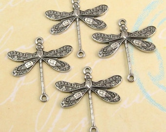 Dragonfly Connector, Antique Silver, 4 Pc. AS27-2